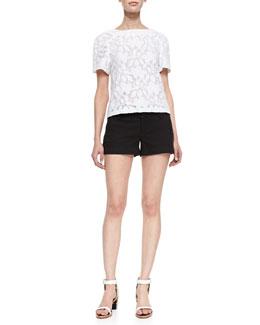Alice + Olivia Edi Floral-Lace Blouse & Cady Cuffed Shorts