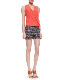Trina Turk Muriel Surplice Sleeveless Silk Blouse & Corbin Printed Sateen Shorts
