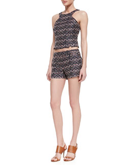 Trina Turk Vixen Printed Sleeveless Cut-In Top & Corbin Printed Sateen Shorts