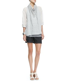 Eileen Fisher Ombre Striped Linen Henley Shirt, Long Tank, Linen Cord Scarf & Organic Linen City Shorts