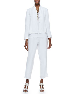 Eileen Fisher Long-Sleeve Linen Jacket, Organic Cotton Slim Tank & Slim Linen Ankle Pants, Petite