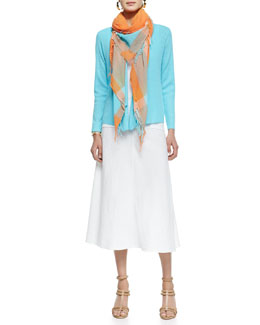Eileen Fisher Organic Linen Long-Sleeve Cardigan, Organic Cotton Slim Tank, Heavy-Linen Bias-Skirt & Plaid Borders Checked Scarf
