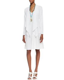 Eileen Fisher Organic-Linen Angled-Front Cardigan & Organic-Linen Knee-Length Bias Dress, Petite