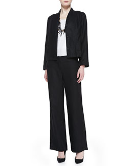 Eileen Fisher Long-Sleeve Linen Jacket, Organic Linen Jersey Shimmer Tank & Heavy Linen Wide-Leg Trousers