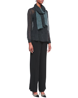 Eileen Fisher Thumbprint Long-Sleeve Silk Shirt, Scarf & Eco Tropical Suiting Wide-Leg Trousers, Petite