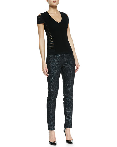 Versace Short-Sleeve Multi-Slit Crop Top & Scroll-Embossed Skinny Jeans