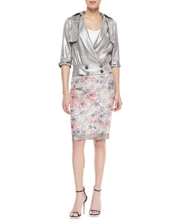 Byron Lars Beauty Mark 3/4-Sleeve Metallic Moto Jacket & Sequin Floral Pencil Skirt