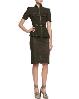Byron Lars Beauty Mark Short Sleeve Metallic Embellished Blouse & Mixed Media Pencil Skirt