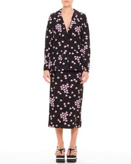 Marni Cherry Blossom Pleat-Back Jacket and A-Line Midi Skirt