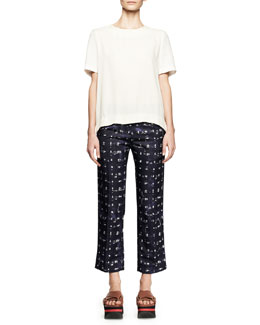 Marni Short-Sleeve Linen-Blend Top and Square-Print Ankle Pants