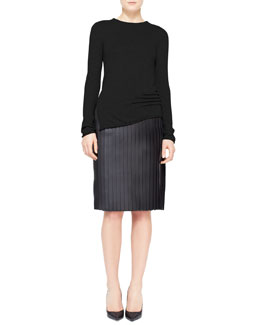 Alexander Wang Long-Sleeve Cashmere-Silk Pullover & Accordion Pleated Leather Skirt
