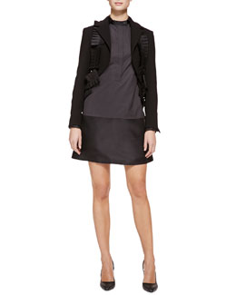 Bottega Veneta Tiered-Back Pleated-Ribbon Jacket and Tab-Collar Cotton Dress