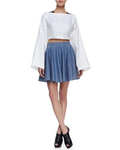 Elle Sasson Danny Long-Sleeve Crop Top and Tina Chambray Circle Skirt
