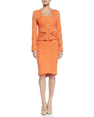 ZAC Zac Posen Long Sleeve Ruffle Front Jacket & Sleeveless Back Ruffle Hem Cocktail Dress