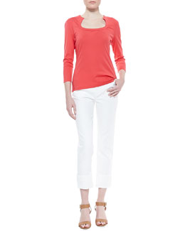 Lafayette 148 New York Swiss Jersey 3/4-Sleeve Tee & Rolled-Ankle Curvy Jeans