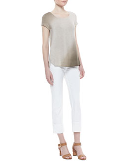 Lafayette 148 New York Pumice Dye Ombre Tee & Rolled-Ankle Curvy Jeans