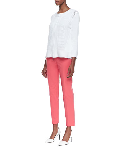 Lafayette 148 New York Cotton Cropped Cardigan & Stanton Slim-Leg Pants