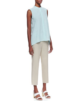 Lafayette 148 New York Silk Sleeveless Top & Metro Bleeker Cropped Pants, Khaki