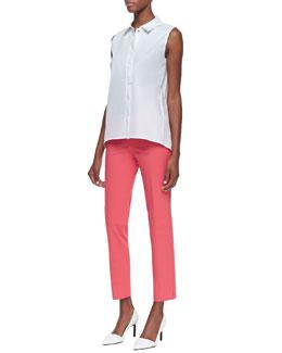 Lafayette 148 New York Stretch-Cotton Sleeveless Blouse & Stanton Slim-Leg Pants