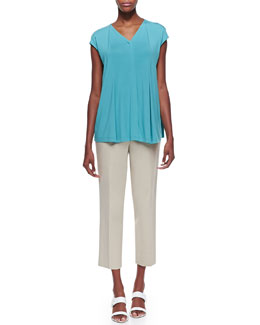 Lafayette 148 New York Lightweight Pleated Cap-Sleeve Top & Metro Bleeker Cropped Pants