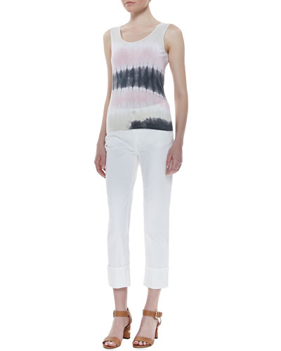 Lafayette 148 New York Daiquiri Tie-Dye Tank & Rolled-Ankle Curvy Jeans