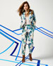 Floral-Print Double-Breasted Jacket, Slub-Jersey V-Neck Top & Enchanted Gardens Pleated Pants