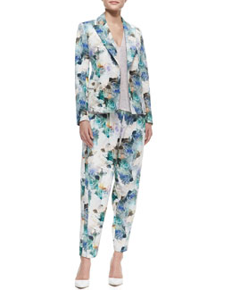 Rebecca Taylor Floral-Print Double-Breasted Jacket, Slub-Jersey V-Neck Top & Enchanted Gardens Pleated Pants