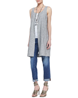 Eileen Fisher Sleeveless Striped Chambray Dress, Organic Cotton Slim Tank & Stretch Boyfriend Jeans, Petite