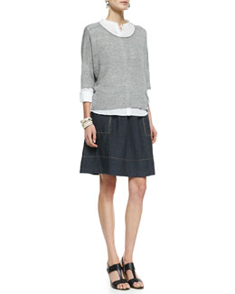 Eileen Fisher 3/4-Sleeve Linen-Blend Knit Top, Mandarin Collar Shirt & Linen Knee-Length Skirt