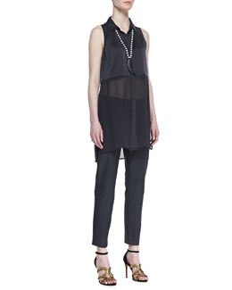 Eileen Fisher Silk Long Sleeveless Shirt & Washable Stretch-Crepe Ankle Pants, Black