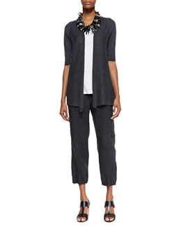 Eileen Fisher Half-Sleeve Open-Front Cardigan, Slub Jersey Long Tank & Cargo Ankle Pants, Women's