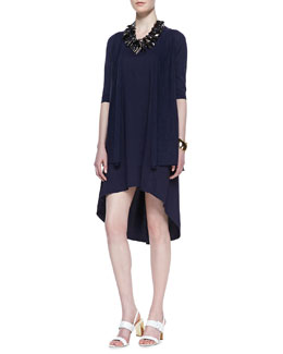 Eileen Fisher Half-Sleeve Organic Open-Front Cardigan & Linen-Blend High-Low Dress