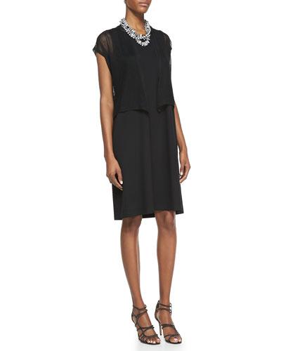 Eileen Fisher Short-Sleeve Mesh Cardigan & Sleeveless Jersey Shift Dress