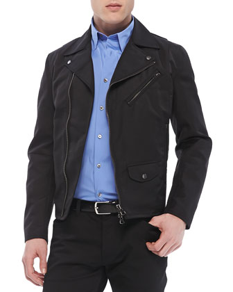 Vilson Moto-Jacket in Boss Nylon & Sylvain Shirt in Wealth Stretch-Cotton