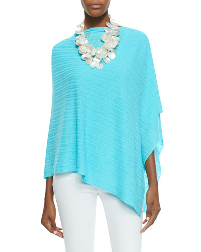 Eileen Fisher Organic Linen Ribbed Poncho & A-Line Lucky Organic-Linen Tee