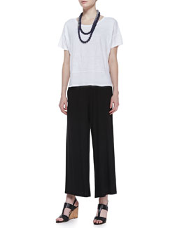 Eileen Fisher Organic Linen Short-Sleeve Box Top, Wide-Leg Cropped Pants & Mini Striped Beaded Necklace, Women's