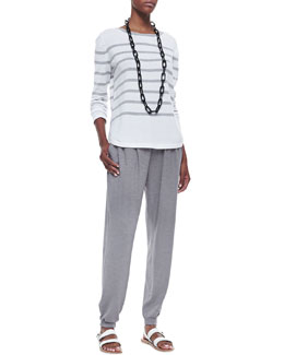 Eileen Fisher Organic Cozy Striped Top & Organic Cotton and Hemp Twist Jersey Pants