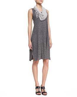 Eileen Fisher Scoop-Neck Melange Jersey Dress & Hand-Knit Cord Scarf