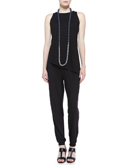 Eileen Fisher Hemp/Organic Cotton Shell, Jersey Pants & Mini Striped Beaded Necklace