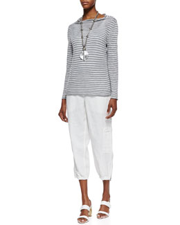 Eileen Fisher Organic Striped Draped-Neck Top, Slim Tank & Organic Linen Cargo Ankle Pants