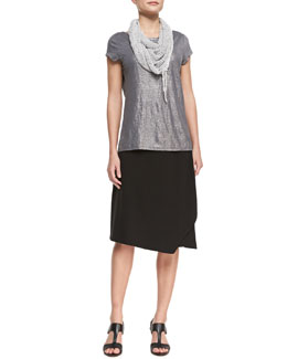 Eileen Fisher Shimmer Cap-Sleeve Top,  Faux-Wrap Jersey Skirt & Hand-Knit Cord Scarf