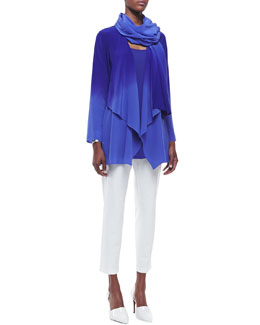 Eileen Fisher Ombre Silk Long Jacket, Crepe Scarf, Long Silk Jersey Tunic & Washable Stretch-Crepe Ankle Pants, Women's