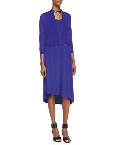 Eileen Fisher Crinkle Cropped Cardigan & Sleeveless Asymmetric-Hem Dress