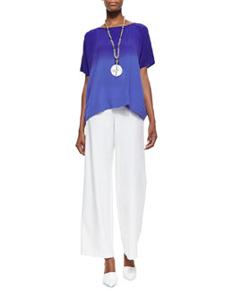 Eileen Fisher Short-Sleeve Ombre Top & Stretch Crepe Modern Wide-Leg Pants, Women's