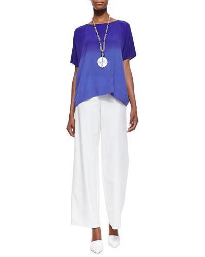 Eileen Fisher Short-Sleeve Ombre Top & Stretch Crepe Modern Wide-Leg Pants, Women's
