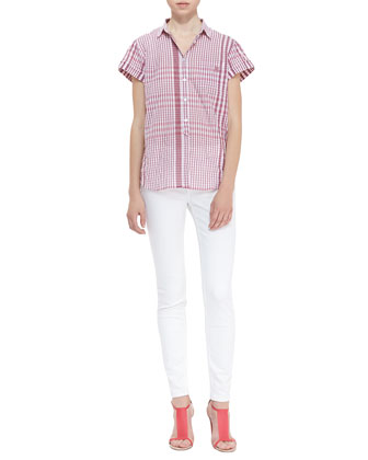 Short-Sleeve Gingham Button-Up Shirt & Seamed Skinny Jeans with Heritage Ring