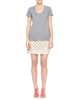 Burberry Brit Heathered Short-Sleeve Tee & Flower Cutout Leather Skirt