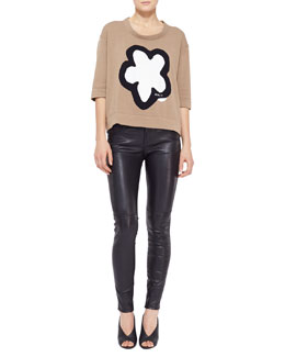 Burberry Brit Flower Knit Sweater & Leather-Front Skinny Jeans