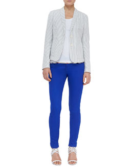 Burberry Brit Cotton Seersucker Blazer, Check-Hem Cotton Tank & Skinny Zip-Ankle Jeans