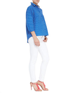 Burberry Brit Polka-Dot 3/4-Sleeve Batwing Top & Seamed Skinny Jeans with Heritage Ring